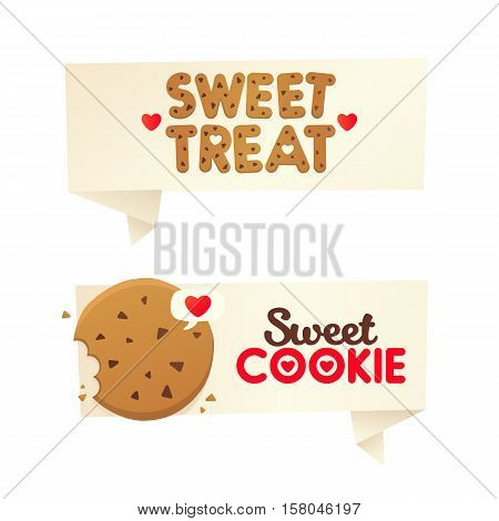 Two banners confectionery. Sweet cookie labels, logos and emblems