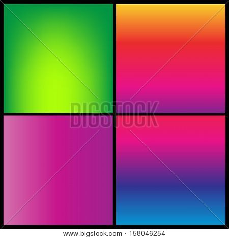 Collection of gradient vibrant color smooth silk background with with shade effect.
