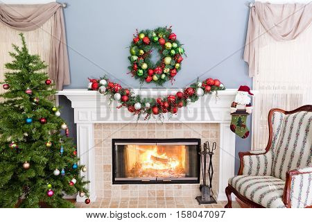 Cheerful Burning Fire In The Hearth At Christmas
