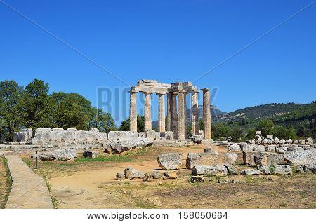 Temple Of Zeus In Nemea, Peloponnese, Greece