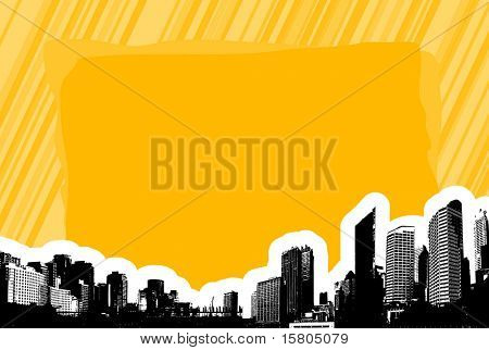 City with place for text. Vector