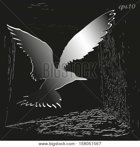 Silhouette bird logo or cover book Abstract author handmade feathered flying frame brushstrokes paint black white color design grunge  applique vector illustration eps10 stock