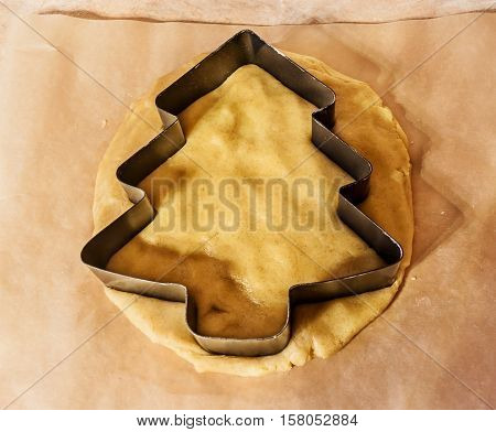Christmas tree cookie cutter on cookie dough