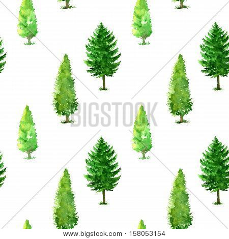seamless pattern with watercolor deciduous trees and firs, abstract nature background, forest template, green foliage and plants, hand drawn illustration