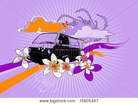Retro car on purple background.