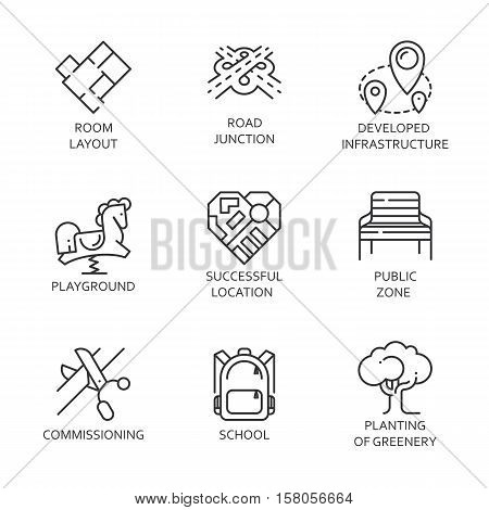 Set of nine logo in outline style. Simple black line image of development of urban and road infrastructure, public areas, landscaping and more. Label for your design needs. Vector contour graphics