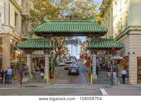 San Francisco CA USA october 23 2016; The Dragon Gate in San Francisco Chinatown