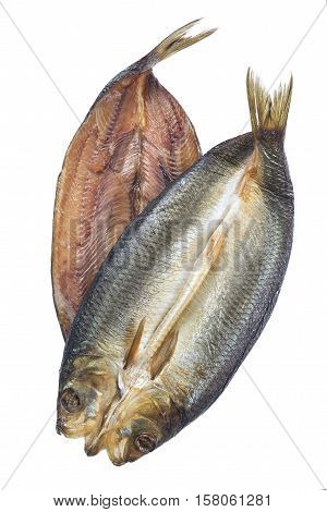 Two Smoked herring on a white background