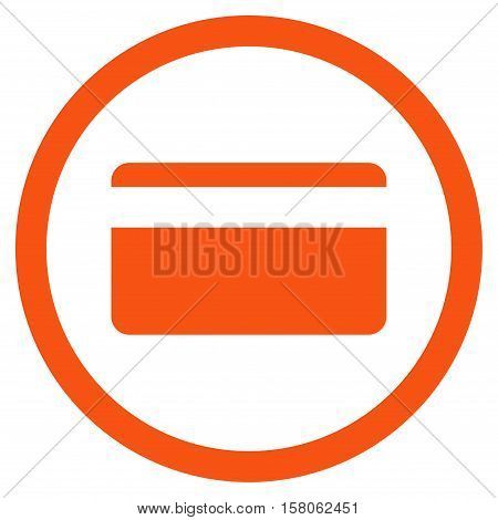 Plastic Card vector rounded icon. Image style is a flat icon symbol inside a circle, orange color, white background.
