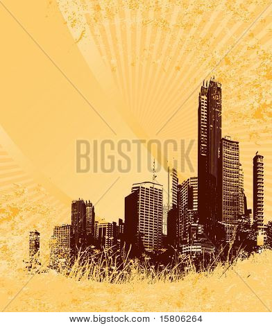 Silhouette of brown city on yellow grunge background.