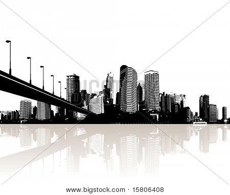 Ciudad reflejada en el agua. Vector