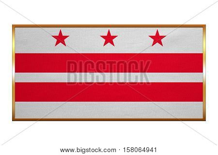 Flag of the District of Columbia. American patriotic element. USA banner. United States of America symbol. Washington D.C. official flag golden frame fabric texture illustration. Accurate size color