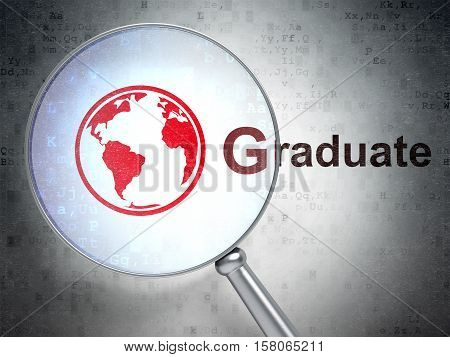Studying concept: magnifying optical glass with Globe icon and Graduate word on digital background, 3D rendering