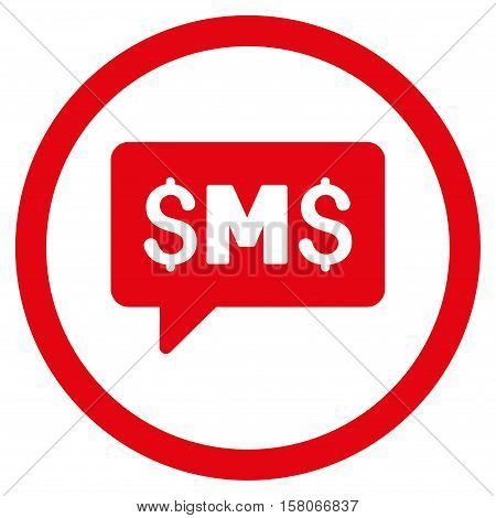 SMS Message vector rounded icon. Image style is a flat icon symbol inside a circle, red color, white background.