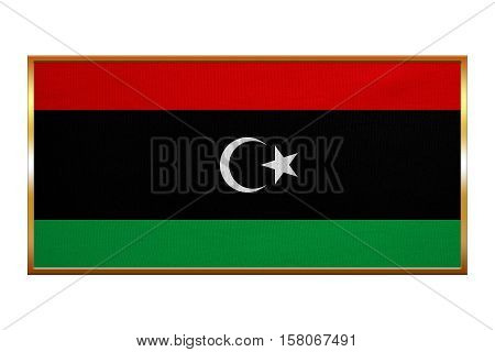 Libyan national official flag. African patriotic symbol banner element background. Correct colors. Flag of Libya golden frame fabric texture illustration. Accurate size colors