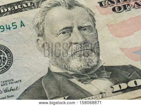 Ulysses S. Grant face on US fifty or 50 dollars bill macro united states money closeup