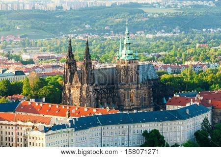 Panoramic view of St. Vitus Cathedral and Castle in Prague from Petrin tower, Czech Republic.