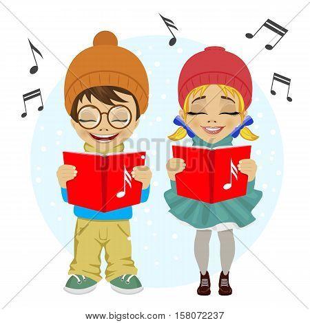 little boy and girl singing Christmas carols. Vector illustration on white background.