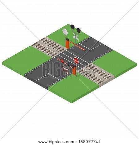 Railway crossing. Traffic lights and road barrier. Flat isometric. A Stop Sign. Paved road and rails train. Vector illustration.