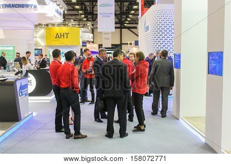 St. Petersburg, Russia - 5 October, Groups of people on the Gas Forum, 5 October, 2016. Petersburg Gas Forum which takes place in Expoforum.