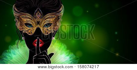 Vector Illustration. Silhouette of mysterious lady in carnival mask she put a finger on lips in a hush gesture. Beautiful concept design for greeting card, party invitation, banner or flyer.