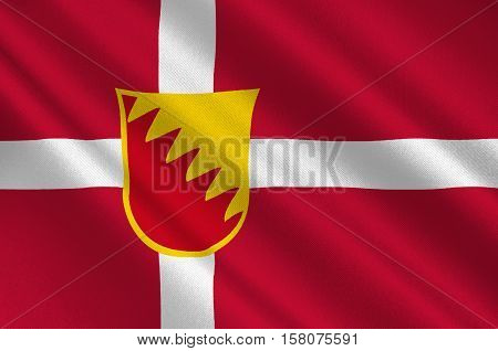Flag of Solrod is a municipality in Denmark in Zealand Region. 3d illustration
