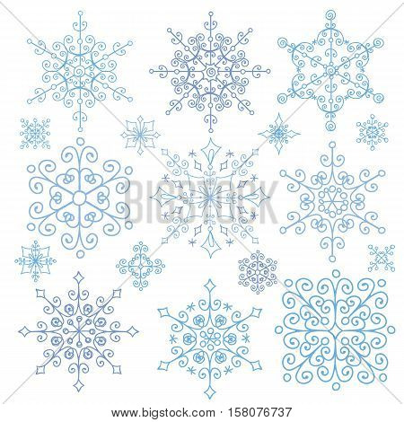 Snowflake big set, Silhouette icon, Winter elements.Christmas, new year holiday decor.Round shape, ornate lace crystal Vector.Vintage Doodles, ornate isolated shapes, and rosettes.
