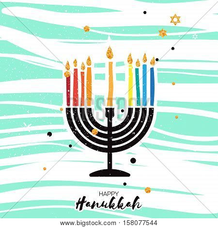 Cute Happy Hanukkah Greeting card. Jewish holiday with menorah - traditional Candelabra, candles on blue background. Vector design illustration