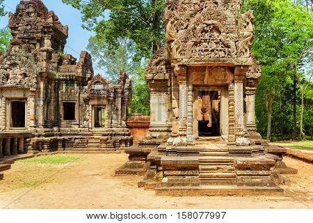 Doorway With Carving Of Thommanon Temple, Angkor, Cambodia
