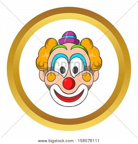 Head of clown vector icon in golden circle, cartoon style isolated on white background