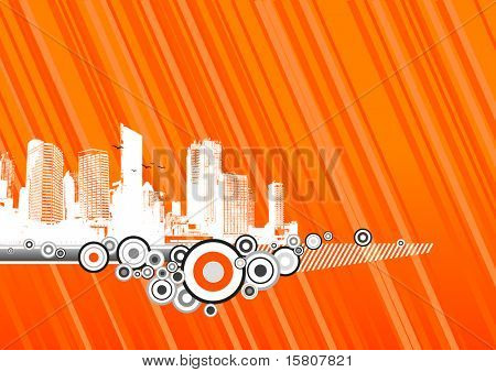 City with orange background.