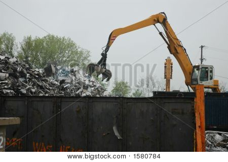 Crane Operator At Salvage Yard