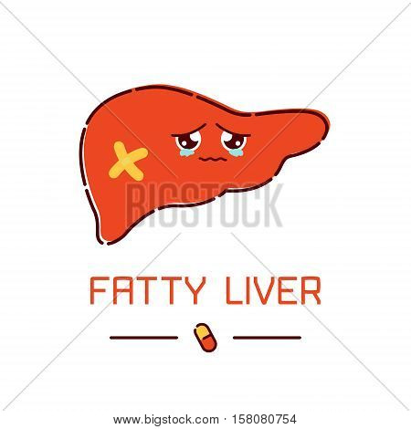 Fatty liver awareness poster with sad cartoon liver character on white background. Human body organs anatomy icon. Human internal organ symbol. Medical concept. Vector illustration.