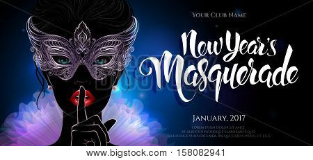 Vector Illustration. A mysterious lady in silver carnival mask put a finger on lips in a hush gesture. Beautiful concept design with hand drawn New Year lettering for greeting card, party invitation, banner or flyer.