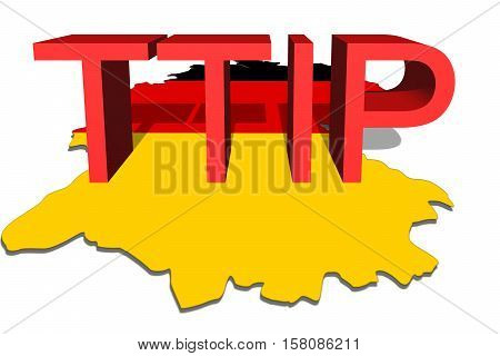 Ttip - Transatlantic Trade And Investment Partnership On Germany Map Background