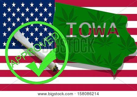 Iowa  On Cannabis Background. Drug Policy. Legalization Of Marijuana On Usa Flag,