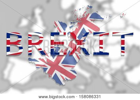 United Kingdom Map With Brexit On Europe Background