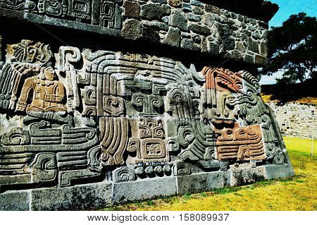 Detail of a pre-Colombian temple at the archeological site of Xochicalco in Mexico.