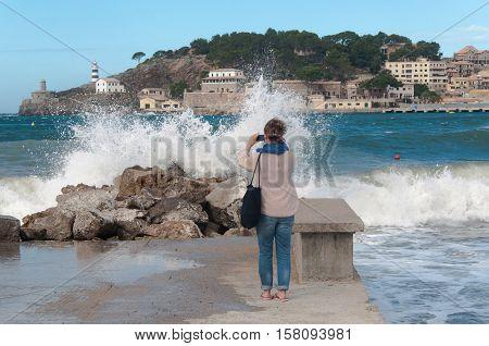 Port de Soller on Majorca at storm. WinterSpain