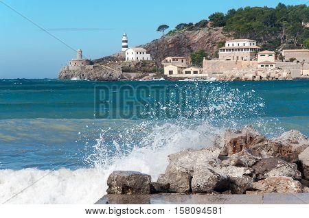 Port de Soller on Majorca. Winter, Spain