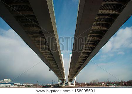 St. Petersburg Russia Big Obukhovsky bridge. over the Neva river. Saint-Petersburg