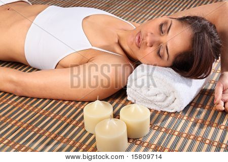 Eyes closed in health spa