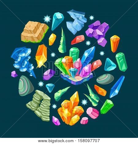 Stones decoration isometric set in round shape with crystals and minerals on black background isolated vector illustration
