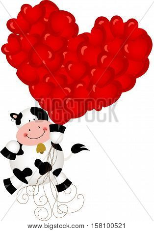 Scalable vectorial image representing a cute cow flying with heart balloons, isolated on white.