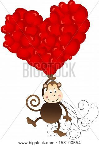 Scalable vectorial image representing a monkey flying with heart balloons, isolated on white.