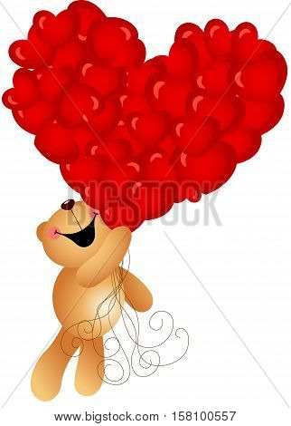 Scalable vectorial image representing a teddy bear flying with heart balloons, isolated on white.