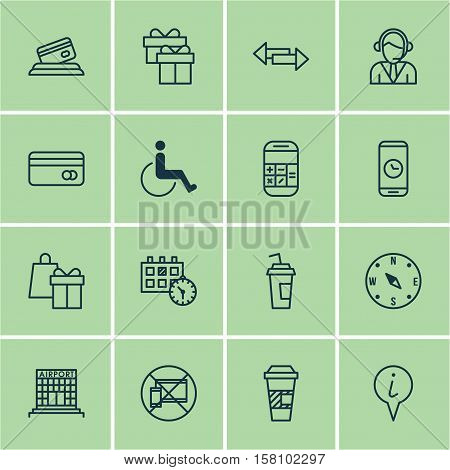 Set Of Travel Icons On Shopping, Drink Cup And Present Topics. Editable Vector Illustration. Include