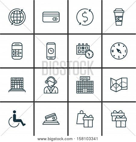 Set Of Traveling Icons On World, Operator And Calculation Topics. Editable Vector Illustration. Incl