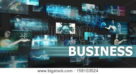 Business Presentation Background with Technology Abstract Art 3d Illustration Render