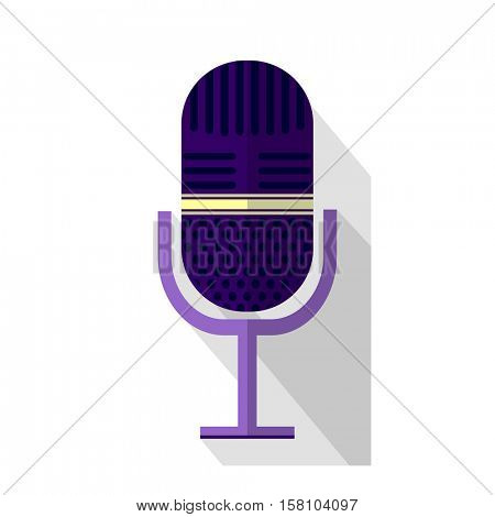 Original colorful microphone. Vector illustration earpfone and MIC. Modern design for catalogs and POS-materials. Isolated on particolored colored background.
